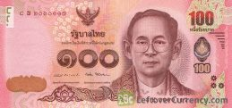 100 Thai Baht banknote (updated portrait) obverse accepted for exchange
