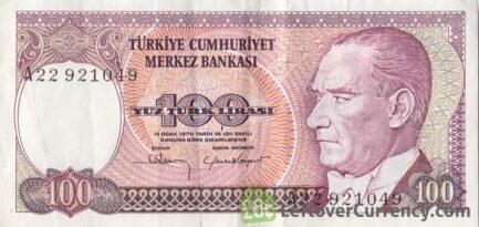 100 Turkish Lira banknote (7th emission group 1970)