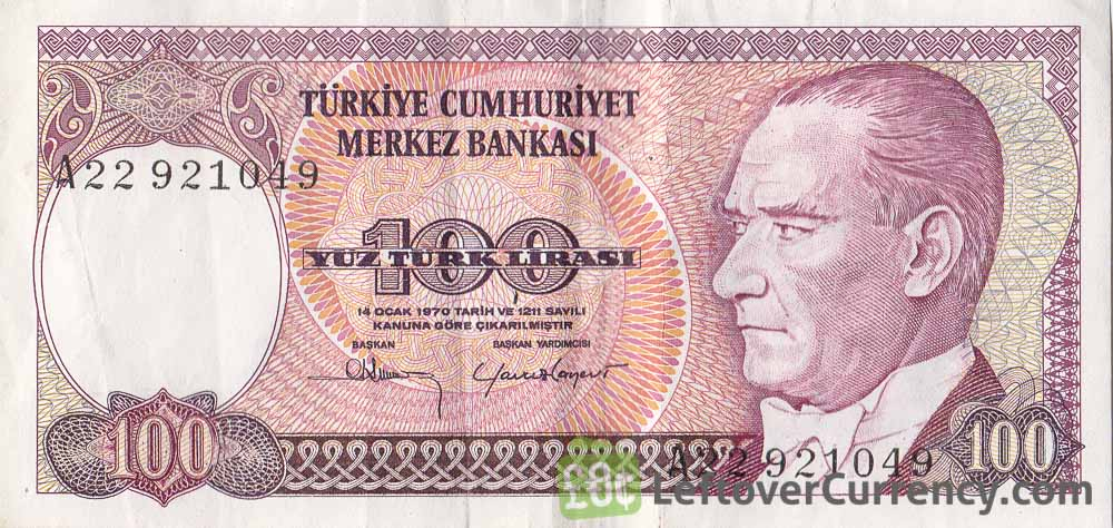 100 Turkish Lira banknote (7th emission group 1970)