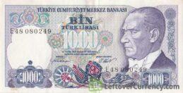 1000 Turkish Old Lira banknote (7th emission group 1970)