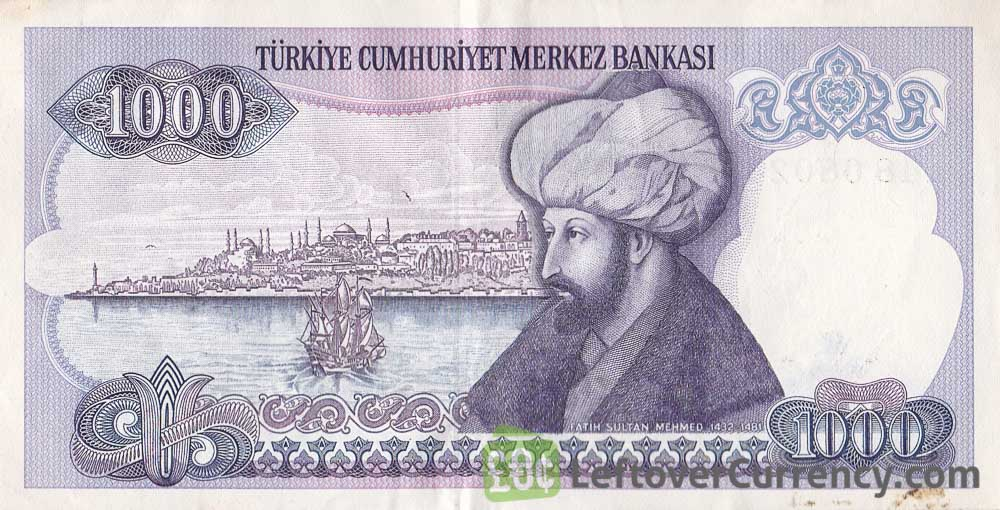 1000 Turkish Old Lira banknote (7th emission group 1970)