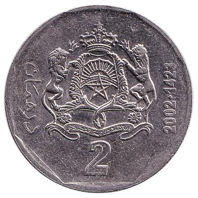 2 Dirhams coin Morocco (2002)