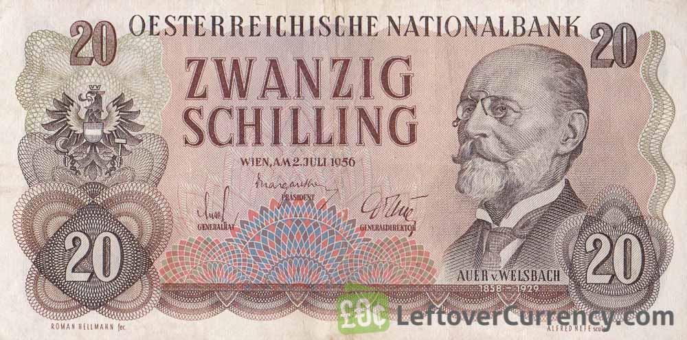 20 Austrian Schilling banknote (Carl Auer von Welsbach)