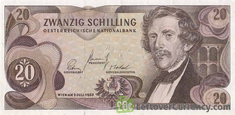 20 Austrian Schilling banknote (Carl von Ghega)