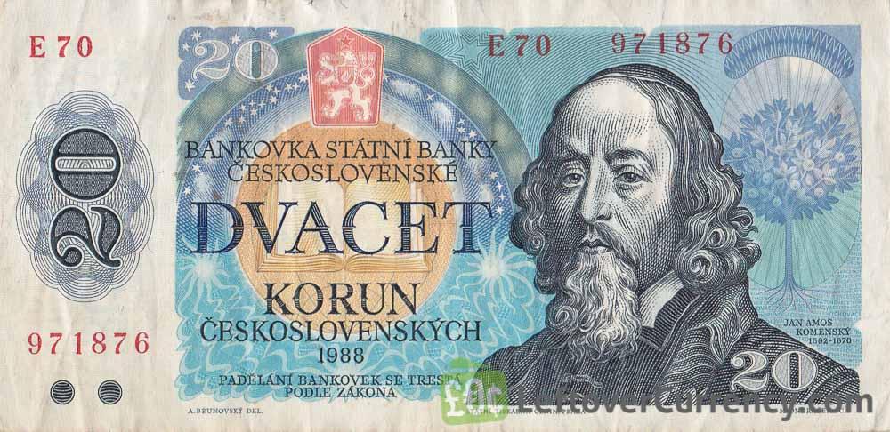 20 Czechoslovak Korun banknote 1988 (Jan Ámos Komensky)