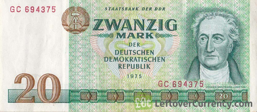 20 DDR Mark banknote (Goethe)