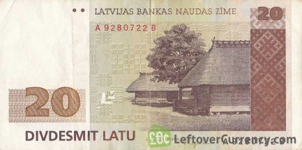 20 Latvian Latu banknote obverse accepted for exchange