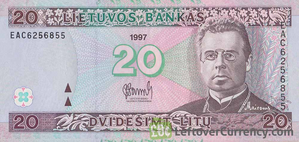 20 Litu banknote Lithuania (1993) obverse accepted for exchange