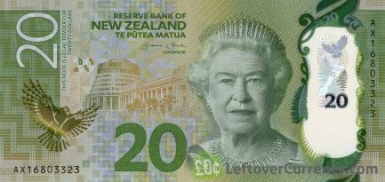 20 New Zealand Dollars banknote series 2015 obverse