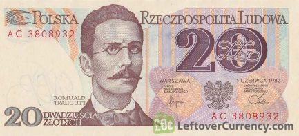 20 old Polish Zlotych banknote (Romuald Traugutt) obverse accepted for exchange