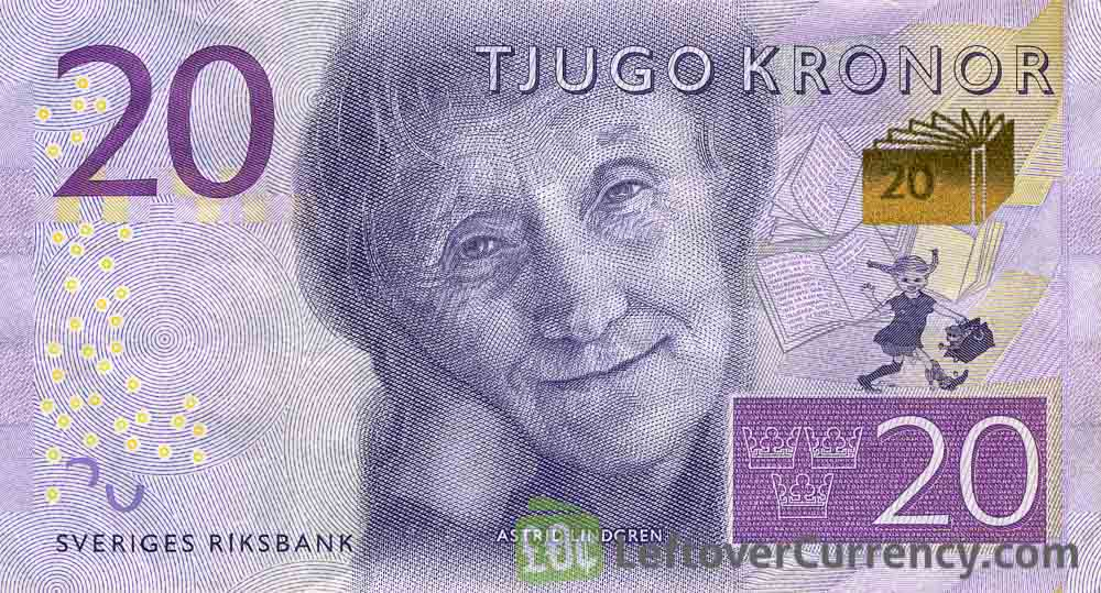 20 Swedish Kronor banknote (Astrid Lindgren) - Exchange ...