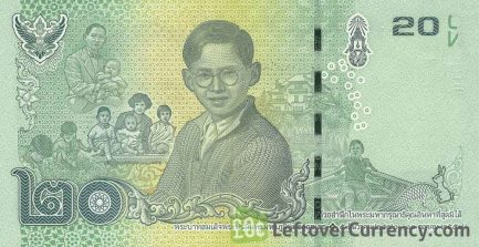20 Thai Baht banknote (updated portrait) 2017 remembrance issue reverse accepted for exchange
