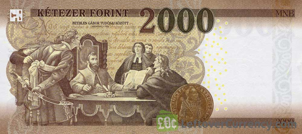 2000 Hungarian Forints banknote (Prince Gabor Bethlen 2016) reverse