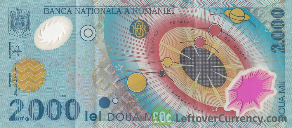 2000 Romanian Old Lei banknote (Solar Eclipse)