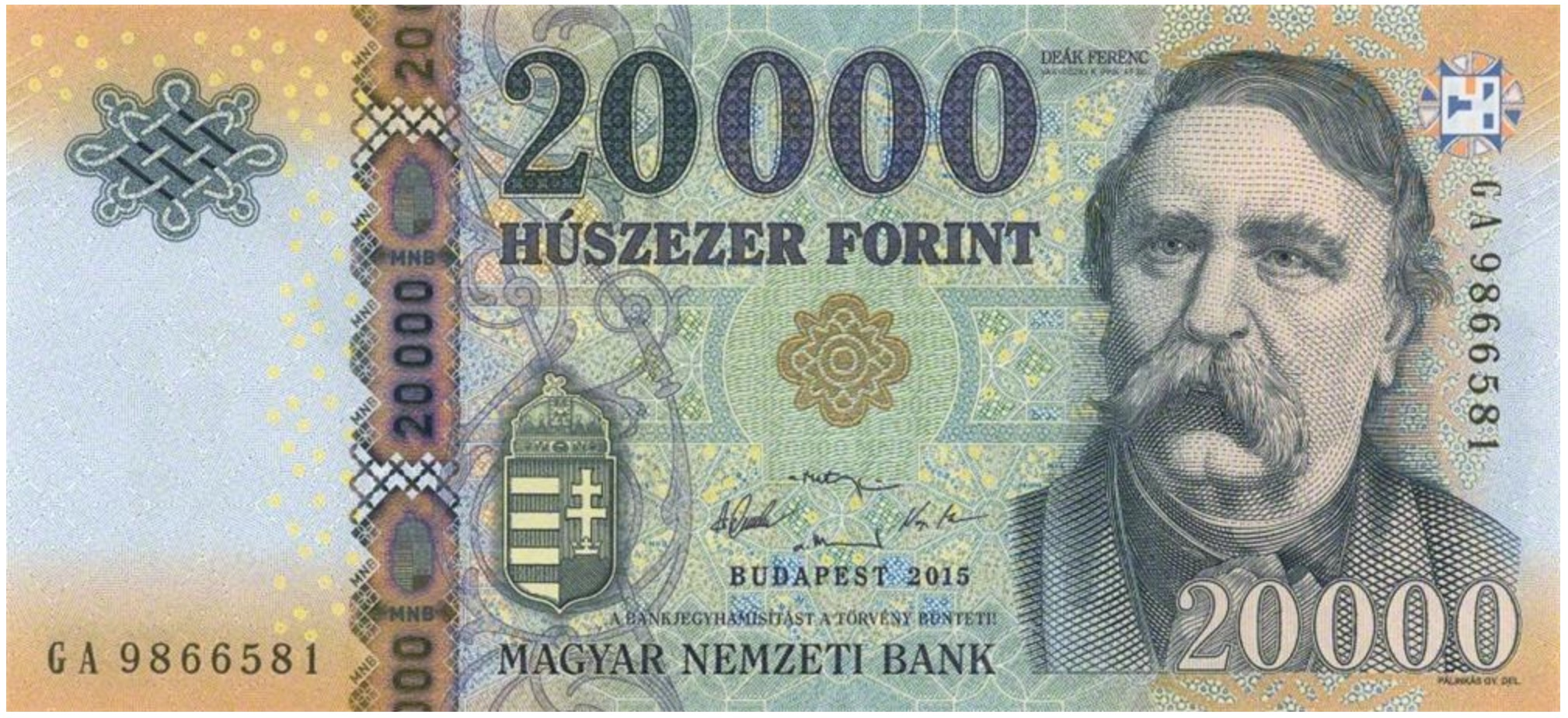 20000 Hungarian Forints banknote (Ferenc Deak 2015)