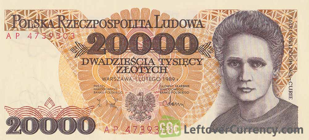 20000 old Polish Zloty banknote (Maria Skłodowska-Curie) obverse accepted for exchange