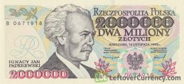 2000000 old Polish Zlotych banknote (Ignacy Jan Paderewski) obverse accepted for exchange