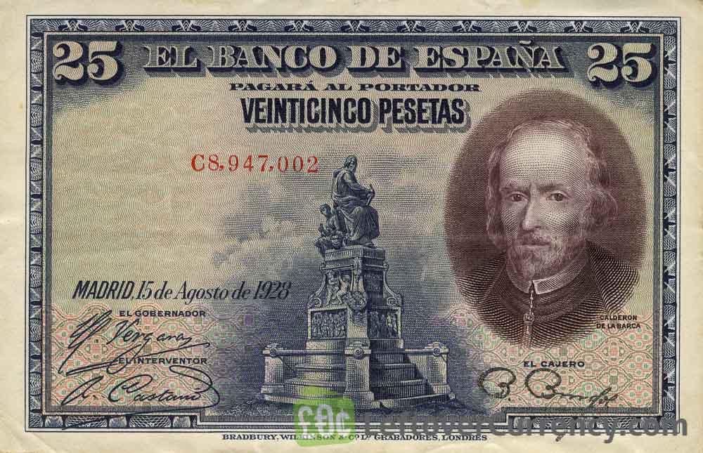 25 Spanish Pesetas banknote (Calderon de la Barca)