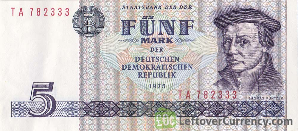 5 DDR Mark banknote (Thomas Müntzer)