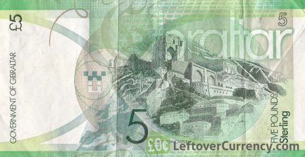 5 Gibraltar Pounds banknote (Moorish Castle) reverse accepted for exchange