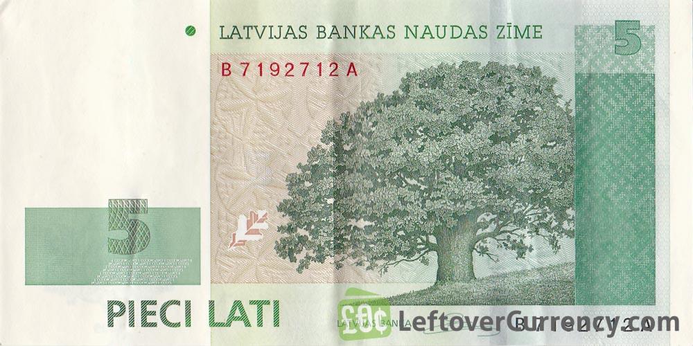 5 Latvian Lati banknote obverse