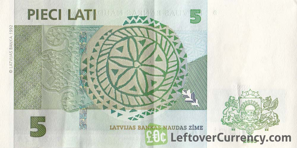5 Latvian Lati banknote reverse