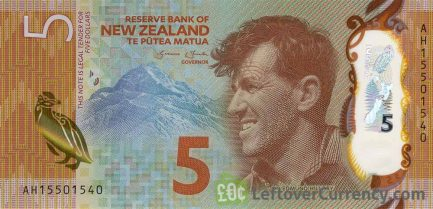 5 New Zealand Dollars banknote series 2015 obverse