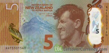 5 New Zealand Dollars banknote series 2015 obverse