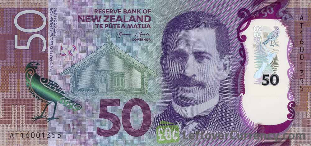 50 New Zealand Dollars banknote series 2015 obverse