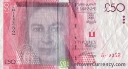 50 Gibraltar Pounds banknote (Casemates Square) obverse accepted for exchange