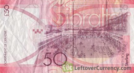 50 Gibraltar Pounds banknote (Casemates Square) reverse accepted for exchange