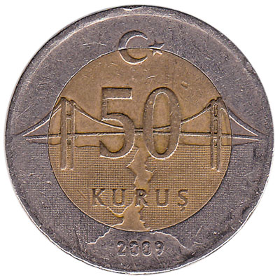 50 Kurus coin Turkey