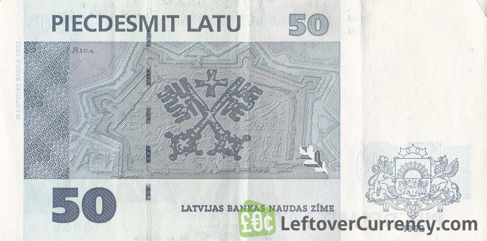 50 Latvian Latu banknote reverse accepted for exchange