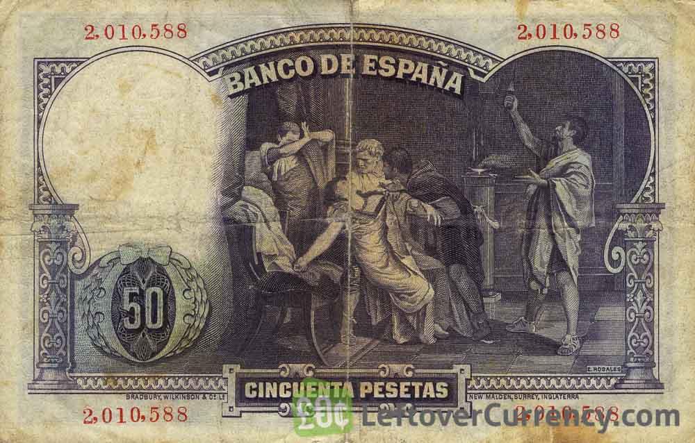 50 Spanish Pesetas banknote (Eduardo Rosales)