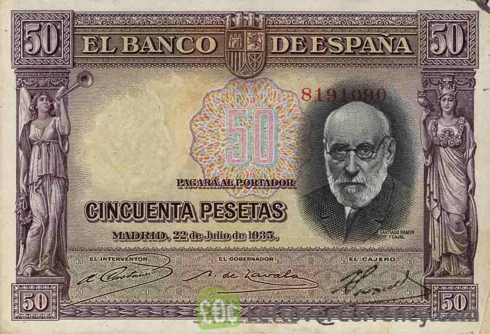 50 Spanish Pesetas banknote (Santiago Ramon y Cajal)