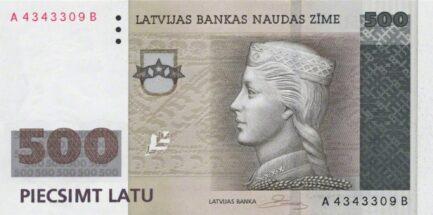 500 Latvian Latu banknote