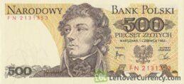 500 old Polish Zlotych banknote (Tadeusz Kościuszko) obverse accepted for exchange