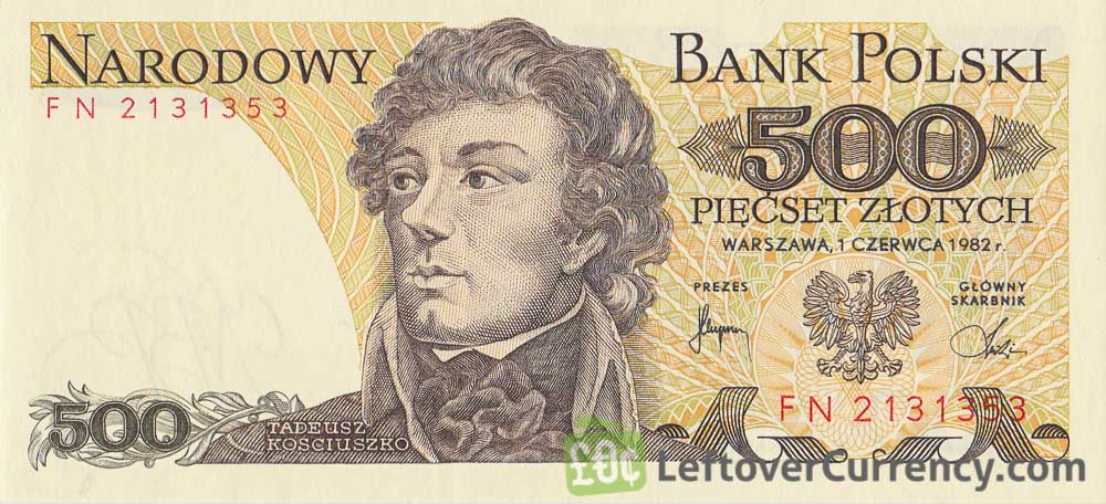 500 old Polish Zlotych banknote (Tadeusz Kościuszko) obverse accepted for exchange