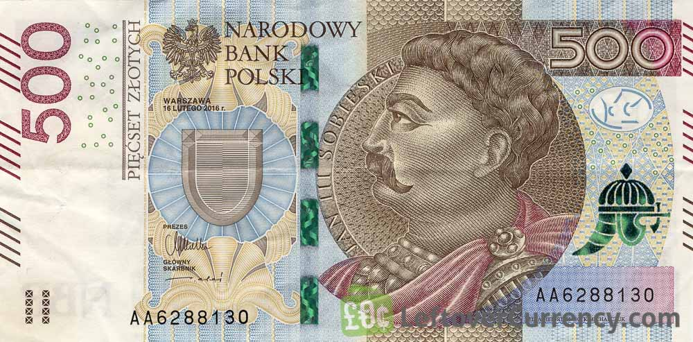 500 Polish Zloty banknote (King John III Sobieski) obverse accepted for exchange