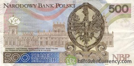 500 Polish Zloty banknote (King John III Sobieski) reverse accepted for exchange
