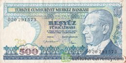 500 Turkish Old Lira banknote (7th emission group 1970)