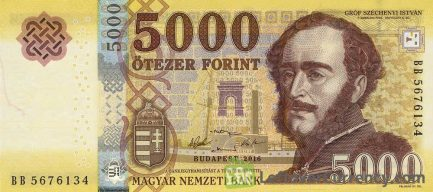 5000 Hungarian Forints banknote (Istvan Szechenyi's Home 2016) obverse