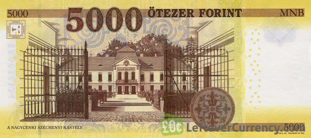 5000 Hungarian Forints banknote (Istvan Szechenyi's Home 2016) reverse