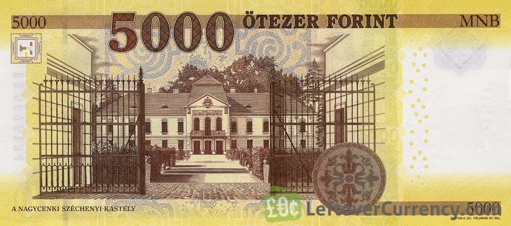 5000 Hungarian Forints banknote (Istvan Szechenyi's Home 2016) reverse