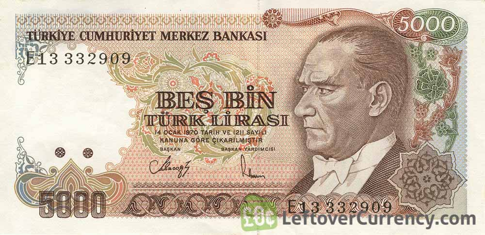 5000 Turkish Old Lira banknote (7th emission group 1970)