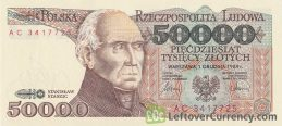 50000 old Polish Zloty banknote (Stanisław Staszic) obverse accepted for exchange