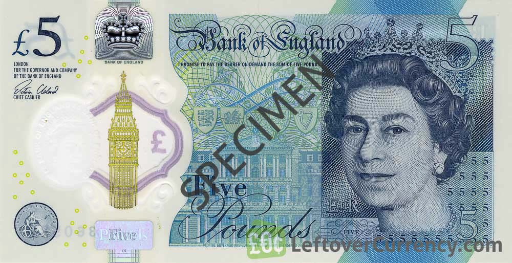 Bank of England 5 Pounds Sterling polymer banknote (Winston Churchill)