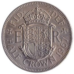 British predecimal half crown coin