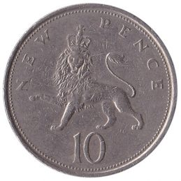British large style 10p coin