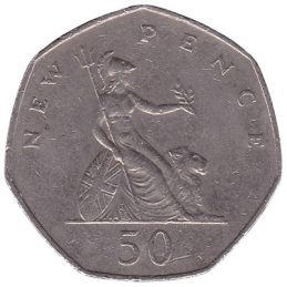British large style 50p coin